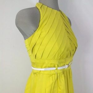 Yellow Ellen Tracy Halter top dress size 6